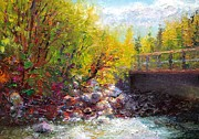 Rushing Water Paintings - Living Water - bridge over Little Su River by Talya Johnson