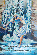 Living Water Scripture Print by Cindy Elsharouni