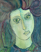 Portraits Paintings - Liz  by Oscar Penalber