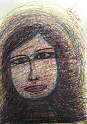 Primitive Art Drawings Prints - Liza with Blue Eyes - Spirit Led Print by Tracy Smith
