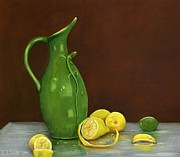 Pottery Pitcher Metal Prints - Lizard And Lemons Metal Print by Vicky Watkins