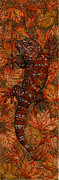 Black Top Painting Posters - LIZARD in RED NATURE - Elena Yakubovich Poster by Elena Yakubovich