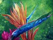 Bird Of Paradise Paintings - Lizard on Bird of Paradise by Eloise Schneider