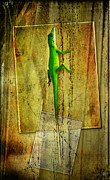 Sports Digital Art Metal Prints - Lizard on Palm Metal Print by Gene Tewksbury