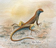 Reptiles Painting Originals - Lizards Look by Lyn DeLano