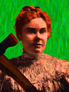 Bloody Digital Art - Lizzie Bordon Took An Ax - Painterly - Green by Wingsdomain Art and Photography