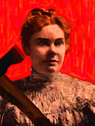 Murder Prints - Lizzie Bordon Took An Ax - Painterly - Red Print by Wingsdomain Art and Photography