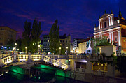 Outdoor Cafes Posters - Ljubljanica River and Three Bridges 2 Poster by Treadwell Images