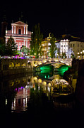 Outdoor Cafes Posters - Ljubljanica River and Three Bridges Poster by Treadwell Images