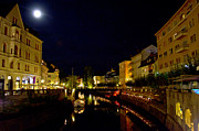 Outdoor Cafes Posters - Ljubljanica River at Night Poster by Treadwell Images