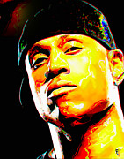 Orange Digital Art Originals - LL Cool J by Byron Fli Walker