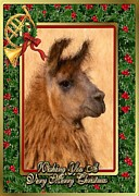 Llama Drawings Posters - Llama Blank Christmas Card Poster by Olde Time  Mercantile