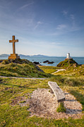 Landscape Digital Art Metal Prints - Llanddwyn Island Bench Metal Print by Adrian Evans