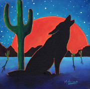 Lonely Night Wolf Print by MarLa Hoover
