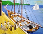 Runner Drawings Posters - Loading the sch. H.L.Marshall at Jamaica Poster by Bill Hubbard