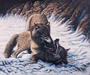 Male Painting Originals - Lobos by Ricardo Chavez-Mendez