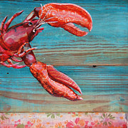Cute Mixed Media Framed Prints - Lobster Blissque Framed Print by Danny Phillips