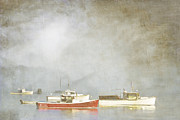 Mooring Posters - Lobster Boats at Anchor Bar Harbor Maine Poster by Carol Leigh