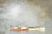 Lobster Boats At Anchor Bar Harbor Maine Print by Carol Leigh