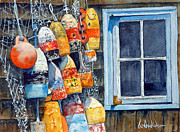 Maine Shore Painting Prints - Lobster Buoys Print by Bill Hudson