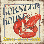 Vintage Blue Prints - Lobster House Print by Debbie DeWitt