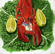 Home Plate Paintings - Lobster by Jane Dunn Borresen