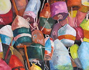 Susan Richardson Paintings - Lobster Trap Buoys by Susan Richardson