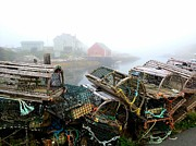 Tracy Munson Metal Prints - Lobster Traps and fog Metal Print by Tracy Munson