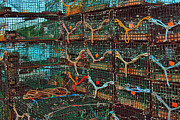 Fishing Industry Framed Prints - Lobster Traps Framed Print by Joann Vitali