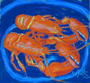 Dinner Pastels - Lobsters by Rae  Smith PSC