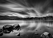 Black And White Rural Photography Prints - Loch Morlich Print by David Bowman