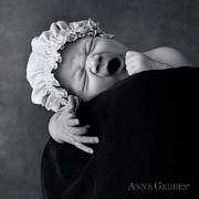 Black White Photography Prints - Lochie 3 weeks Print by Anne Geddes