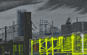 Factories Painting Framed Prints - Lock Lane Acrylic on Cnavas Framed Print by David Rives