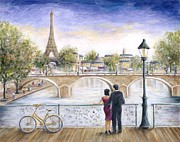 Paris Painting Posters - Locked In Love Poster by Marilyn Dunlap