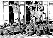 Helmet Drawings Prints - Locker Room Print by Bruce Kay