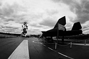 Manhaten Posters - Lockheed A12 Blackbird on the flight deck of the USS Intrepid Poster by Joe Fox