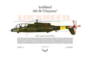 Air Wing Graphics Prints - Lockheed AH-56 Cheyenne Print by Arthur Eggers