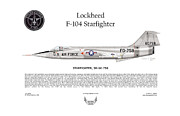 Aircraft Artist Framed Prints - Lockheed F-104 Starfighter Framed Print by Arthur Eggers