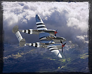 Poster Framed Prints Digital Art - Lockheed P-38 Lightning by Larry McManus