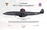 Early Digital Art Prints - Lockheed WV-2 Super Constellation AEWRON13 Print by Arthur Eggers