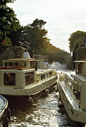 Midi Framed Prints - Locks filling Canal Du Midi France 1980s Framed Print by David Davies