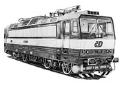 1980s Drawings - Locomotive 363 by Milan Surkala