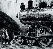 Printmaking Paintings - Locomotive by Edward Hopper