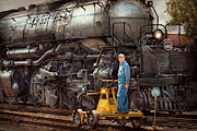 Overalls Prints - Locomotive - The gandy dancer  Print by Mike Savad