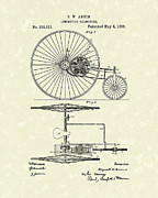 Tricycle Drawings - Locomotive Velocipede 1888 Patent Art by Prior Art Design