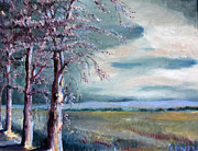 Franklin Farm Painting Prints - Locust Trees Print by Rebecca Myers