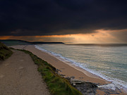 Stormy Weather Posters - Loe Bar Cornwall Poster by Louise Heusinkveld