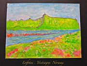 Landscape Greeting Cards Drawings Framed Prints - Lofoten . Vestvagoy. Norway Framed Print by Andrzej Goszcz