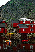 Cabin Wall Digital Art Prints - Lofoten Fishing Huts 2 Print by Steve Harrington