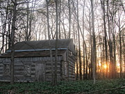 Log Cabins Art - Log Cabin and Right Sunset by Tina M Wenger